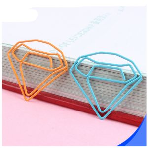diamond gem shaped paper clips in different colors