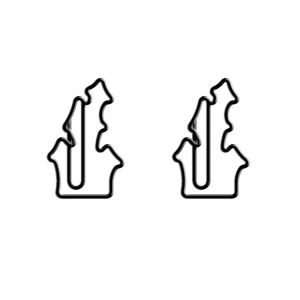 shaped paper clips in the outline of haunted house