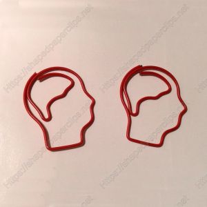 shaped paper clips in head outline; head paper clips