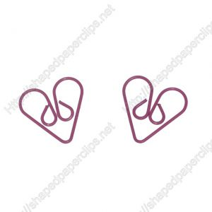 heart shaped paper clips made of wire in pink