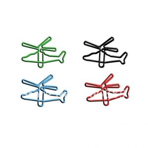 shaped paper clips in helicopter outline
