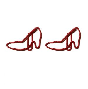 shaped paper clips in high-heeled shoe outline, shoe paper clips in red