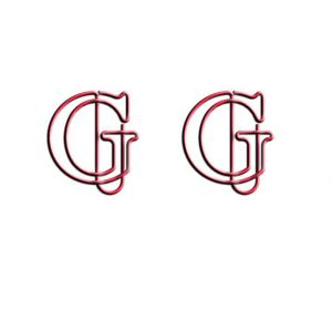shaped paper clips in letter G outline, initial wire paper clips