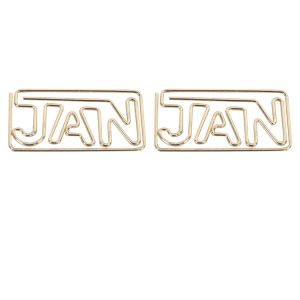 shaped paper clips in the outlines of abbreviated month names, JAN paper clips
