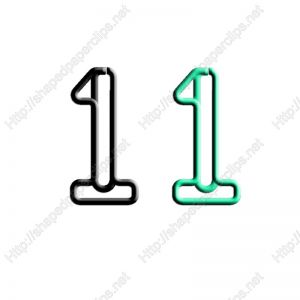 shaped paper clips in the outline of number 1