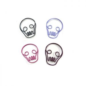skull shaped paper clips, halloween paper clips