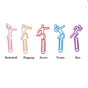 shaped paper clips in the outlines of different sport events