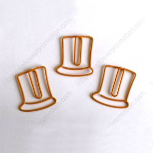 shaped paper clips, top hat paper clips in orange