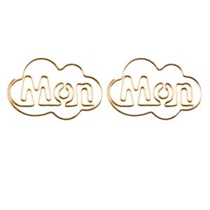shaped paper clips in abbreviated weekday names, Mon paper clips