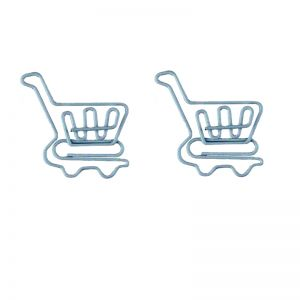 shaped paper clips in shopping cart outline, promotional paper clips