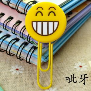 Soft Silicone PVC Paper Clips in Grin Expressions, pvc bookmarks
