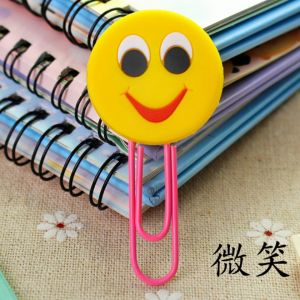 soft PVC silicone paper clips bookmarks in smile image, soft rubber paper clips