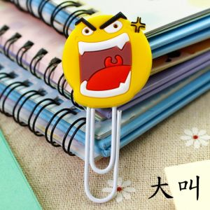 soft PVC silicone paper clips bookmarks in snarl image, soft rubber paper clips