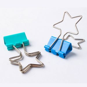 metal binder clips with star shaped handles, star office binder clips