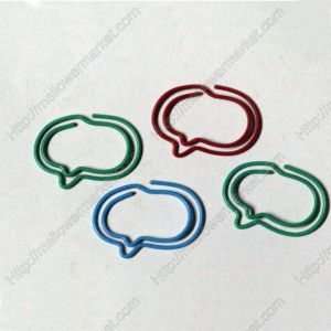 geometry shaped paper clips in the outline of talk bubble