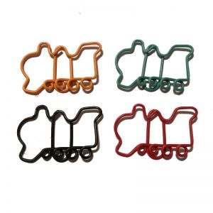 Train shaped paper clips in locomotive outline