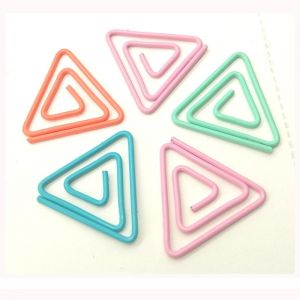 triangle shaped paper clips, triangular clips in different-colored wire