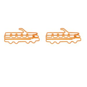 shaped paper clips in the outline of orange trolleybus, bus shaped paper clips
