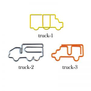 truck shaped paper clips in different outlines, vehicle paper clips