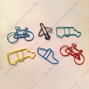 wire shaped paper clips in different vehicle outlines