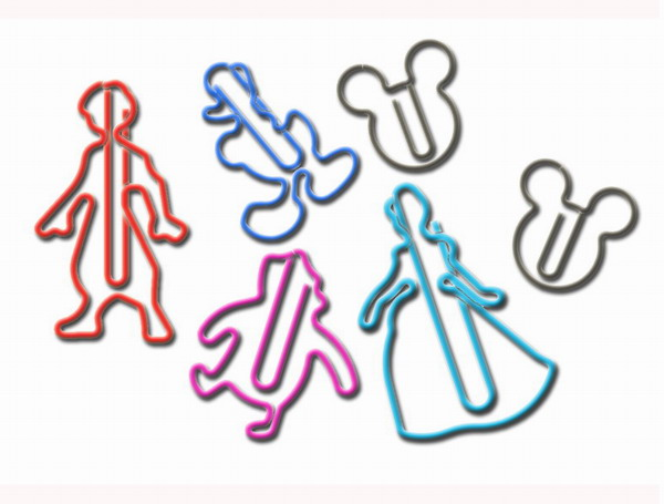 custom shaped paper clips in cartoon outlines