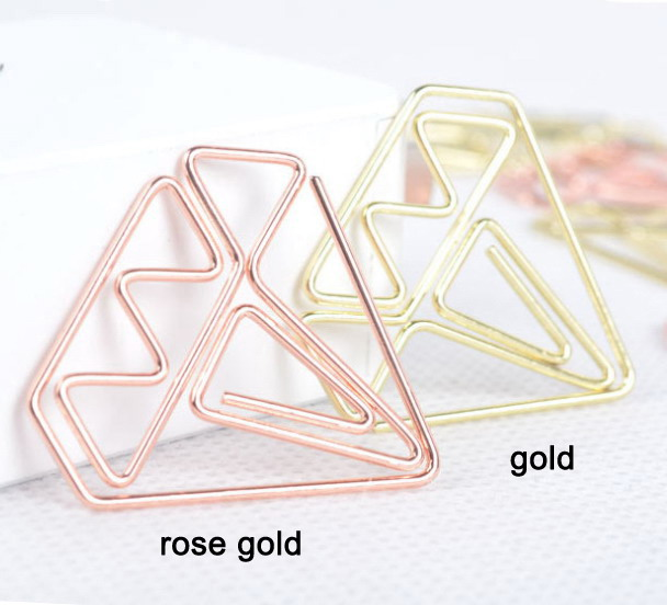 shaped paper clips in gold and rose gold