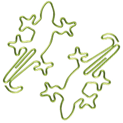 animal shaped paper clips in gecko outline